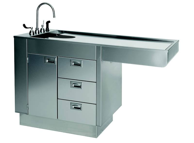 All Stainless Steel 60u2033 Wet Table With Cabinet And Drawers